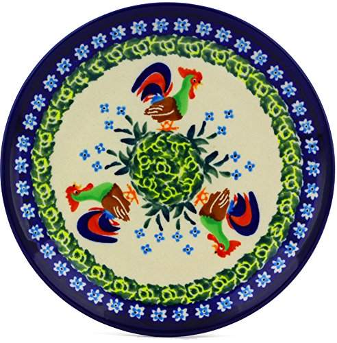 Polish Pottery Divided Dessert Plate 6-inch (Country Rooster Theme) Signature UNIKAT