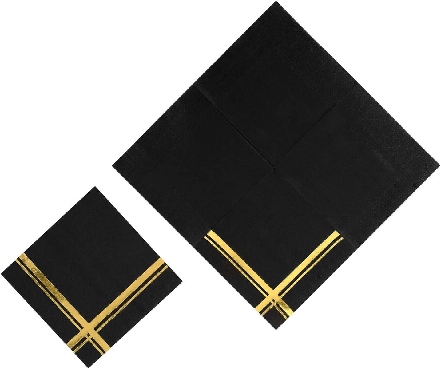 Fanxyware Black Gold Stripe Cocktail Napkins Perfect for Birthdays /& Anniversary Parties 5 x 5 Decorative Paper Cocktail Napkins Shiny Gold Foil Stripe on Black Cocktail Napkin 100 Pack 3-ply