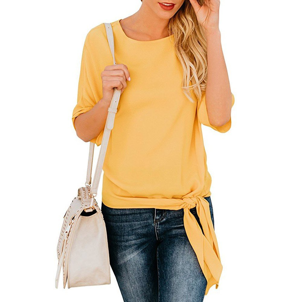 Lmx+3f Womens Casual Loose Fit Basic Top T-Shirt Knot Tie Front Half Sleeve Tee Blouse Solid Color Soft Comfy Tops Yellow