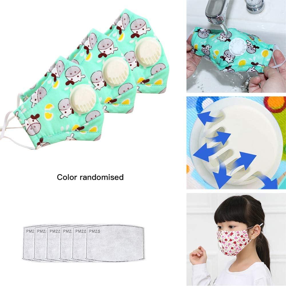 GTWCK - Juego de 3 piezas para niños con válvula, para niños con válvula de respiración, lavable a prueba de polvo, con 6 almohadillas de filtro de repuesto para niños, niñas, color aleatorio