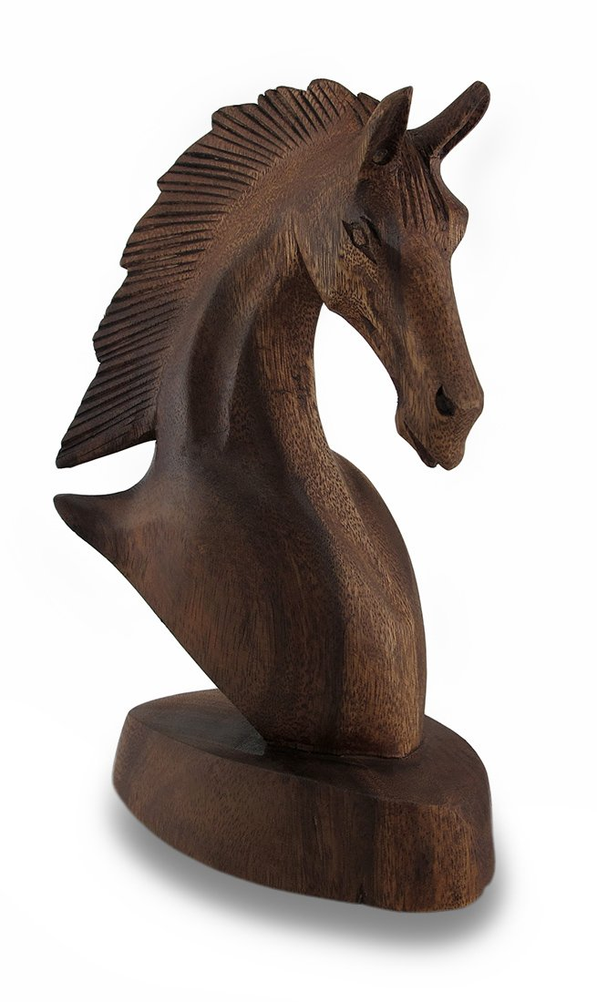 Zeckos Right Facing 9 Inch Mahogany Horse Head Bust Wooden Statue