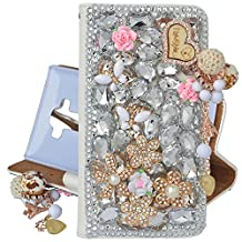 Spritech(TM) Bling Phone Case For Samsung Galaxy S6 Edge Plus,3D Handmade Silver Crystal White Flower Butterfly Accessary Design PU Leather Stand Folding with Card Slot Cellphone Cover