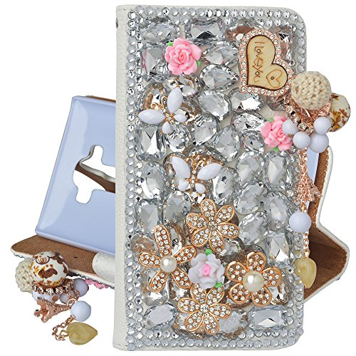 Spritech(TM) Bling Phone Case For LG G Stylo,3D Handmade Silver Crystal White Flower Butterfly Accessary Design PU Leather Stand Folding with Card Slo…