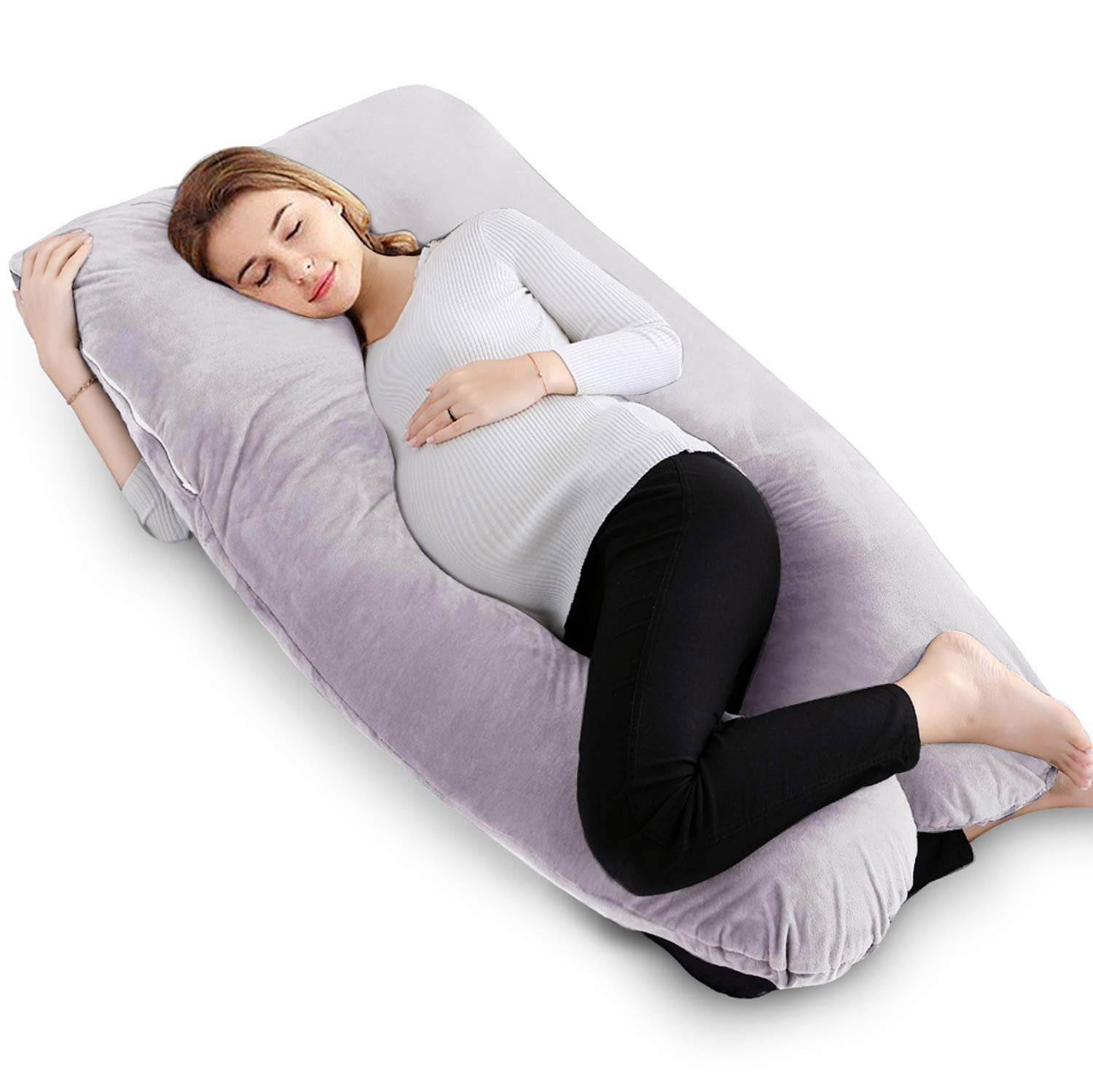 VECELO U-Shaped Pregnancy Full Body Maternity Pillow with Zipper Removable Cover, Body Pain Relief