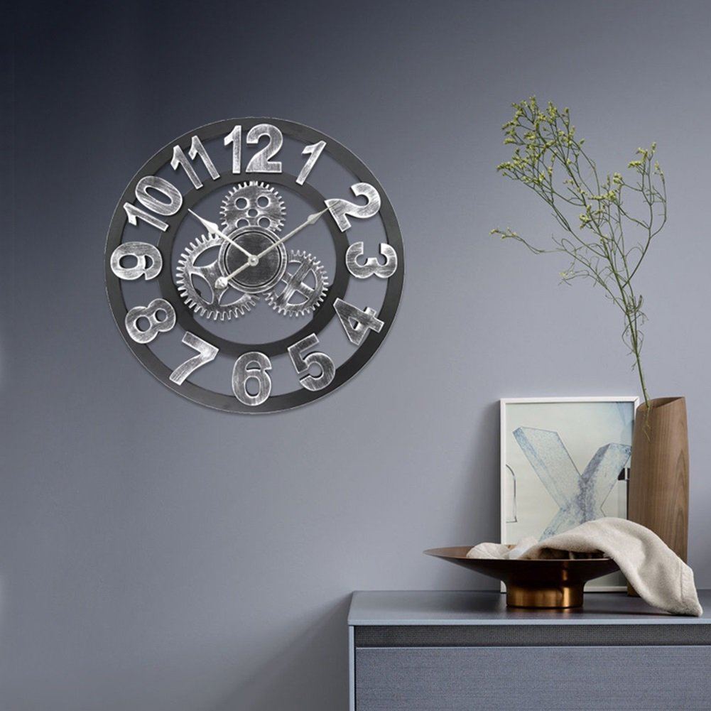 ZWD ギアの壁時計、リビングルームの壁時計ホームバーフラワーショップカフェデコレーションレトロアイアンの壁時計の直径直径40-50CM 飾る (色 : C-50 * 50cm) B07FNWCR6WC-50*50cm