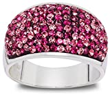 Carly Creations Fine Silver Plate Crystal Band Ring - Pink Size9
