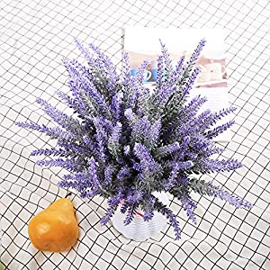DuHouse Artificial Lavender Flowers Fake Real Touch Plant Bouquet for Wedding Party Banquets Garden Decoration(Purple) 4