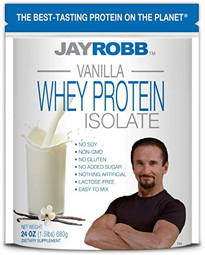 Jay Robb Whey Vanilla Isolate Protein Powder, Low Carb, Keto, Vegetarian, Gluten Free, Lactose Free, No Sugar Added, No Fat, No Soy, Nothing Artificial, Non-GMO, Best-Tasting 24 oz