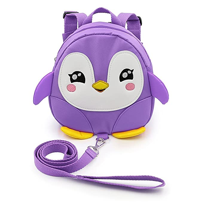 LANSHULAN Baby Toddler Mini Safety Anti-lost Backpack with Safety Leash (Purple)