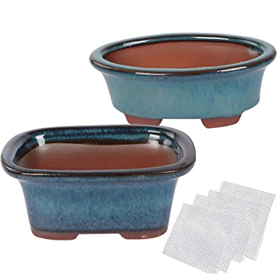 Happy Bonsai Small Glazed Pots, Value Set of 2 + 4 Soft Mesh Drainage Screens: Garden & Outdoor