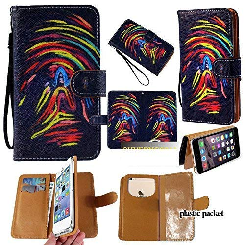 Universal PU Leather Strap Case/Purse/Clutch Fits Apple Samsung LG etc. Rainbow Thumb Print -Small. Magic Sticker Attaches Phone to Wallet. Strong Adhesive/Easy Remove. Fits Models Below:]()