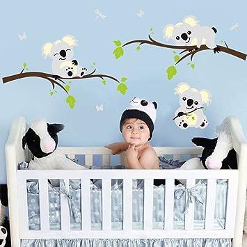 ufengke® Karikatur Tiere Koala Grün Geäst Wandsticker, Babyzimmer ...