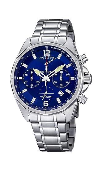 Festina Hombre Reloj de Cuarzo con cronógrafo Azul y Plata Pulsera de Acero Inoxidable f6835/