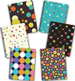 New Generation - Polka DOTY - 1 Subject 70 Sheets 8' x 10.5' wirebound Spiral Notebook, 6 Pack Heavy Duty Covers,3 Hole Punch, Back to School/Campus Supply. (6 Pack Spiral NOTEBOOKS Wide Ruled)