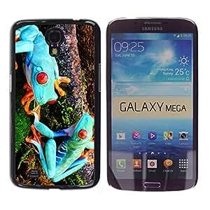 Caucho caso de Shell duro de la cubierta de accesorios de protección BY RAYDREAMMM - Samsung Galaxy Mega 6.3 I9200 SGH-i527 - Funny Blue Alien Frogs