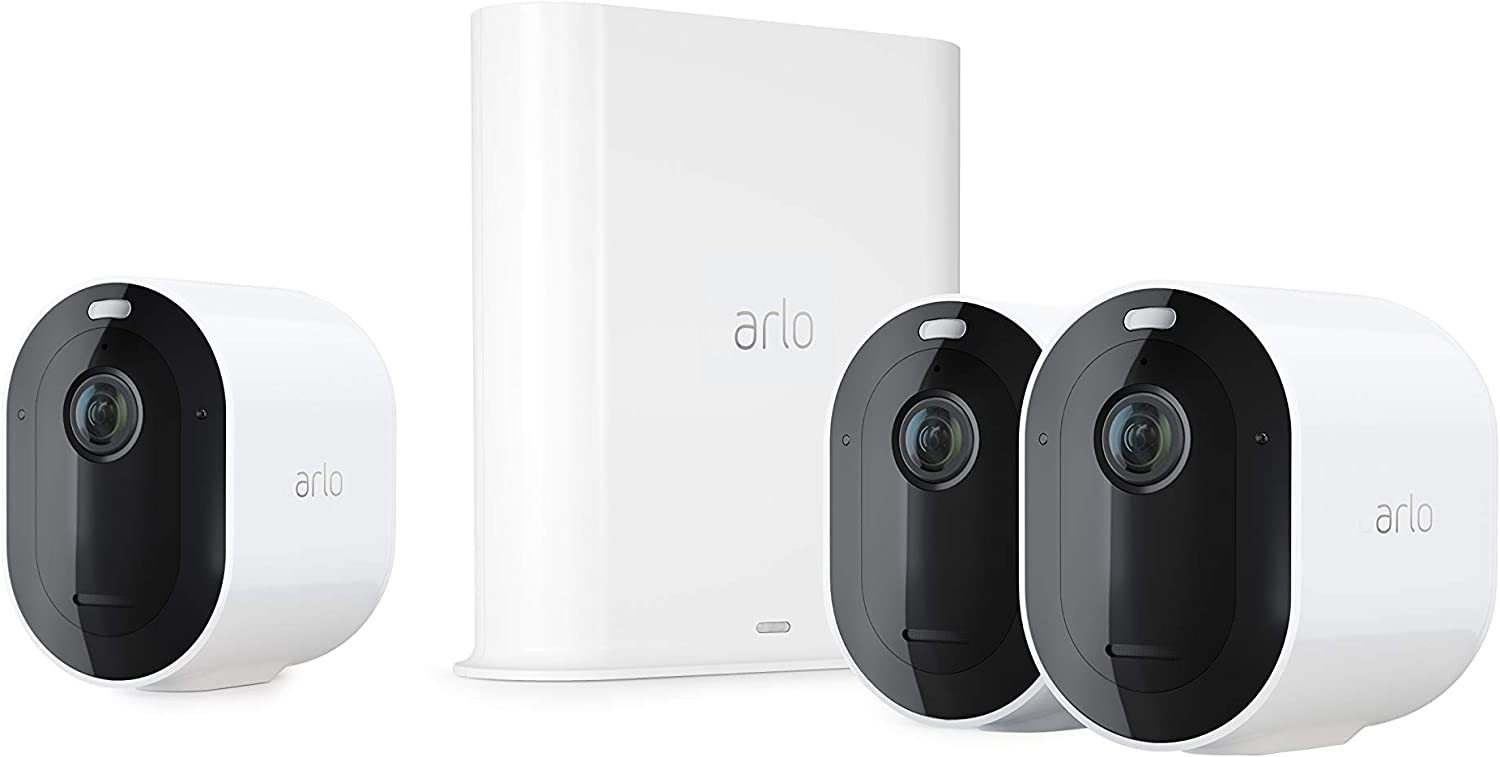 2-Way Audio Spotlight VMS4440P Arlo Pro3 Smart Home Security CCTV Camera System Alarm Wireless Wi-Fi Colour Night Vision 4 Camera Kit Rechargeable Indoor or Outdoor 2K QHD