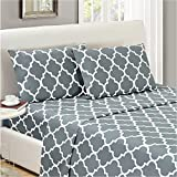 Mellanni Bed Sheet Set TwinXL-Gray - Brushed Microfiber Printed Bedding - Deep Pocket, Wrinkle, Fade, Stain Resistant - 3 Piece (Twin XL, Quatrefoil Silver - Gray)