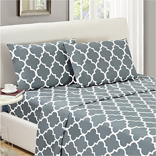 Mellanni Bed Sheet Set Calking-Gray Brushed Microfiber Printed Bedding - Deep Pocket, Wrinkle, Fade, Stain Resistant - Hypoallergenic - 4 Piece (Cal King, Quatrefoil Silver - Gray)