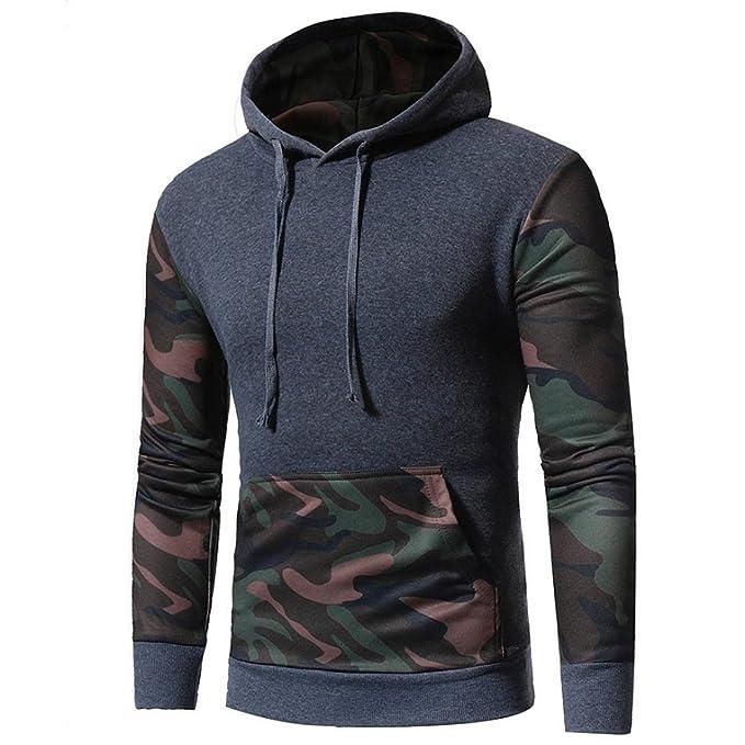 Logobeing Sudadera Con Capucha y Manga Larga Estampada de Camuflaje Para Hombre Chaqueta Abrigo Outwear (