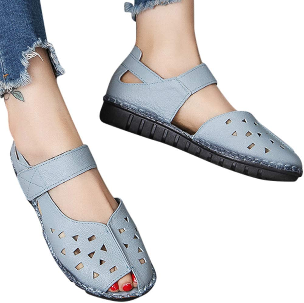 Clearance Swiusd Womens Hollow Single Shoes Retro Peep Toe Soft Bottom Sticker Sandals Casual Comfy Thick Bottom Work Shoes