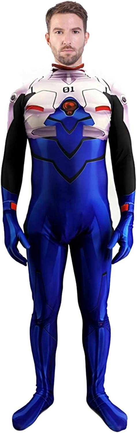 123 TEST Mens Anime EVA Ikari Shinji Plugsuit Cosplay Costume EVA Superhero Ikari Shinji Zentai Suit Bodysuit Jumpsuits