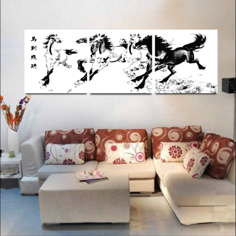 Pintura diy por kit de números para adultos pintura al óleo estilo chino caballo cuadros arte de la pared tríptico lienzo pintura hogar sofá fondo decoración 40x50 cm sin marco 3 unids/set