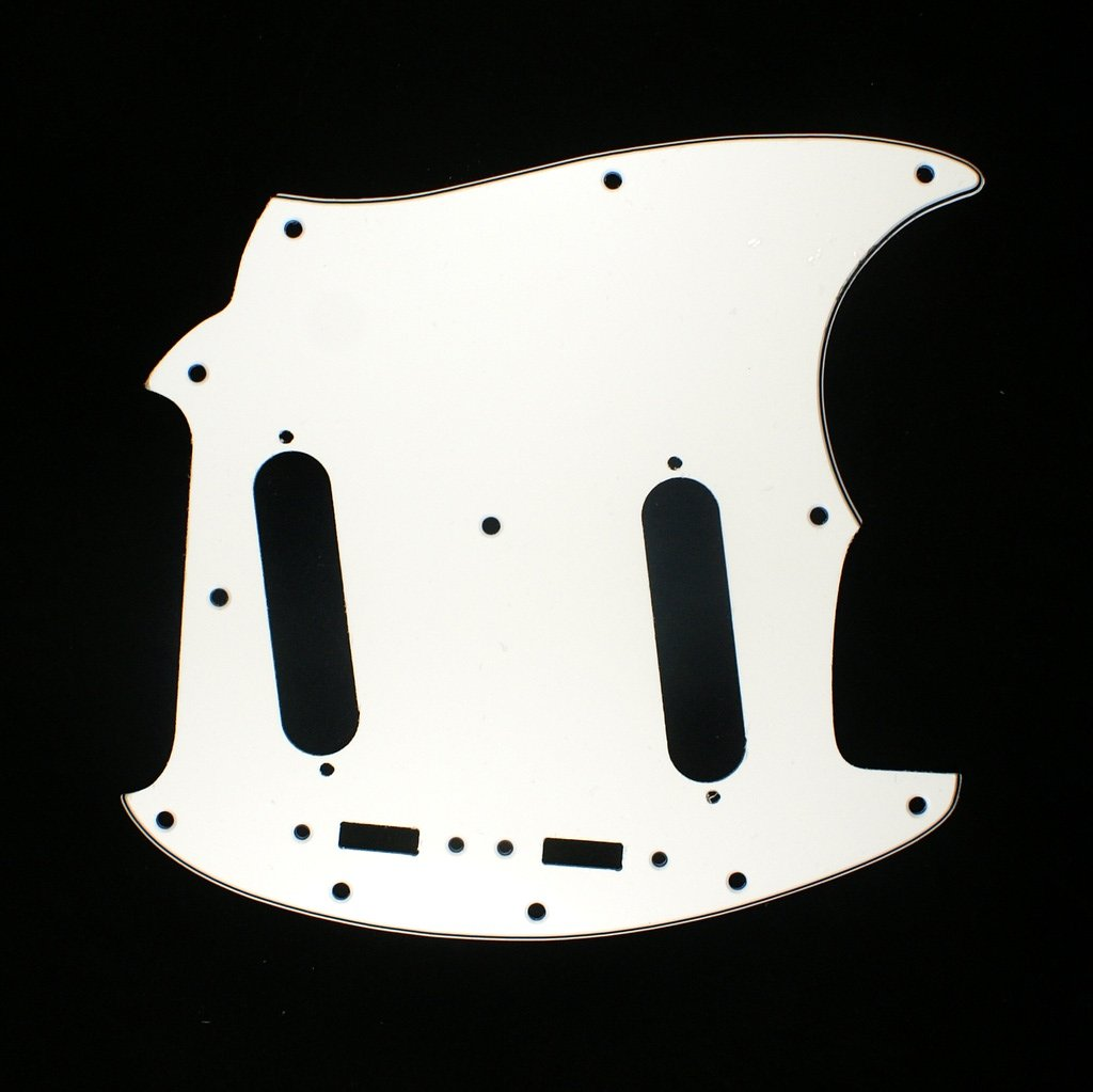 B09 Custom 3 Ply Left-handed Guitar Pickguard Fits Mustang Classic Series White