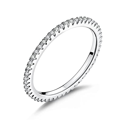 1.5MM Thin Band Eternity Rings Platinum Plated 925 Sterling Silver Cubic Zirconia Engagement Rings for Women Girls XRfp3VnT
