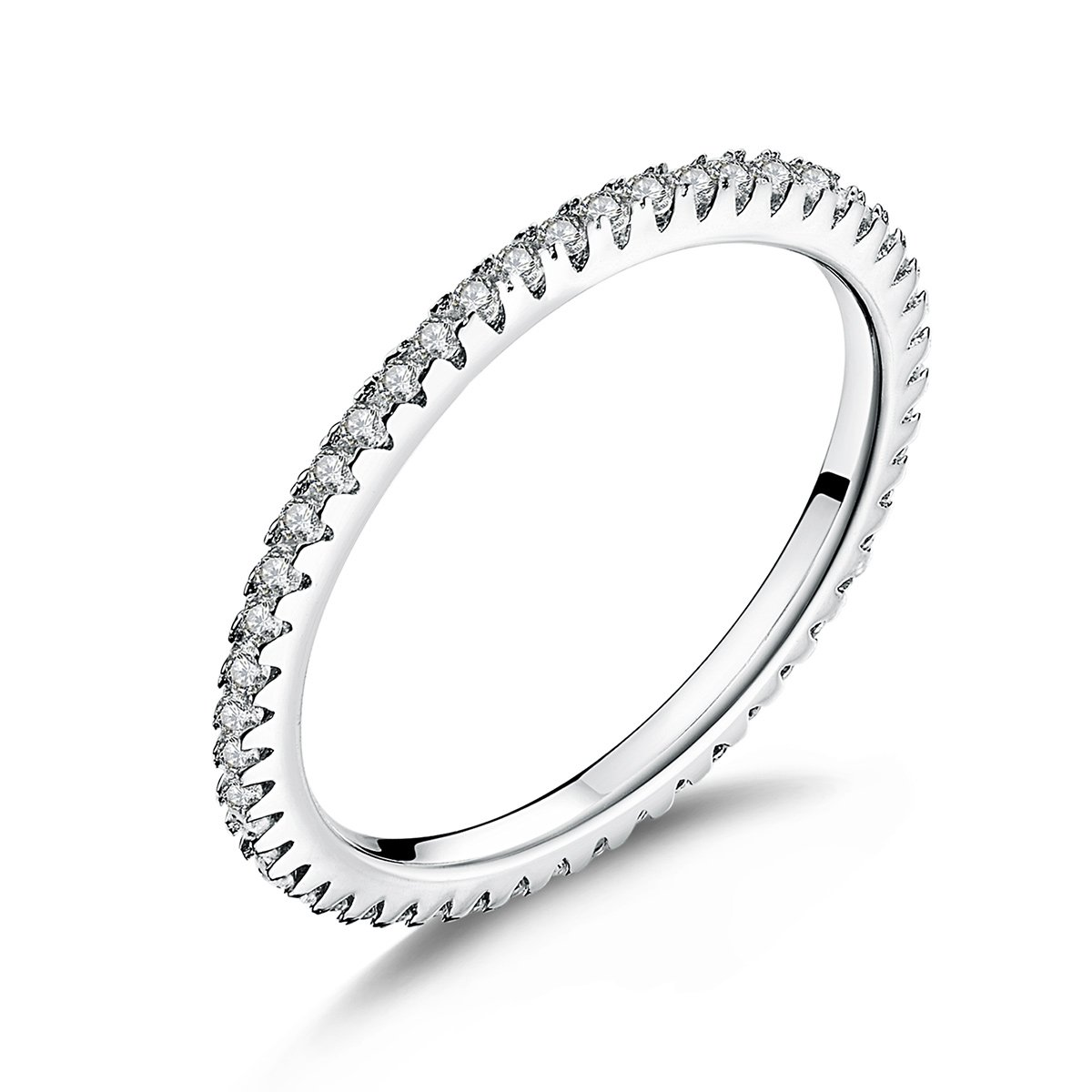 WOSTU 1.5MM Thin Band Eternity Rings Platinum Plated 925 Sterling Silver Cubic Zirconia Engagement Rings (9)