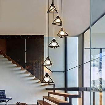 Luminaire Suspendu Lustre Vintage En Escalier En Fer Forge Lustre Long D Escalier En Colimacon En Duplex De Villa Support De Lampe E27