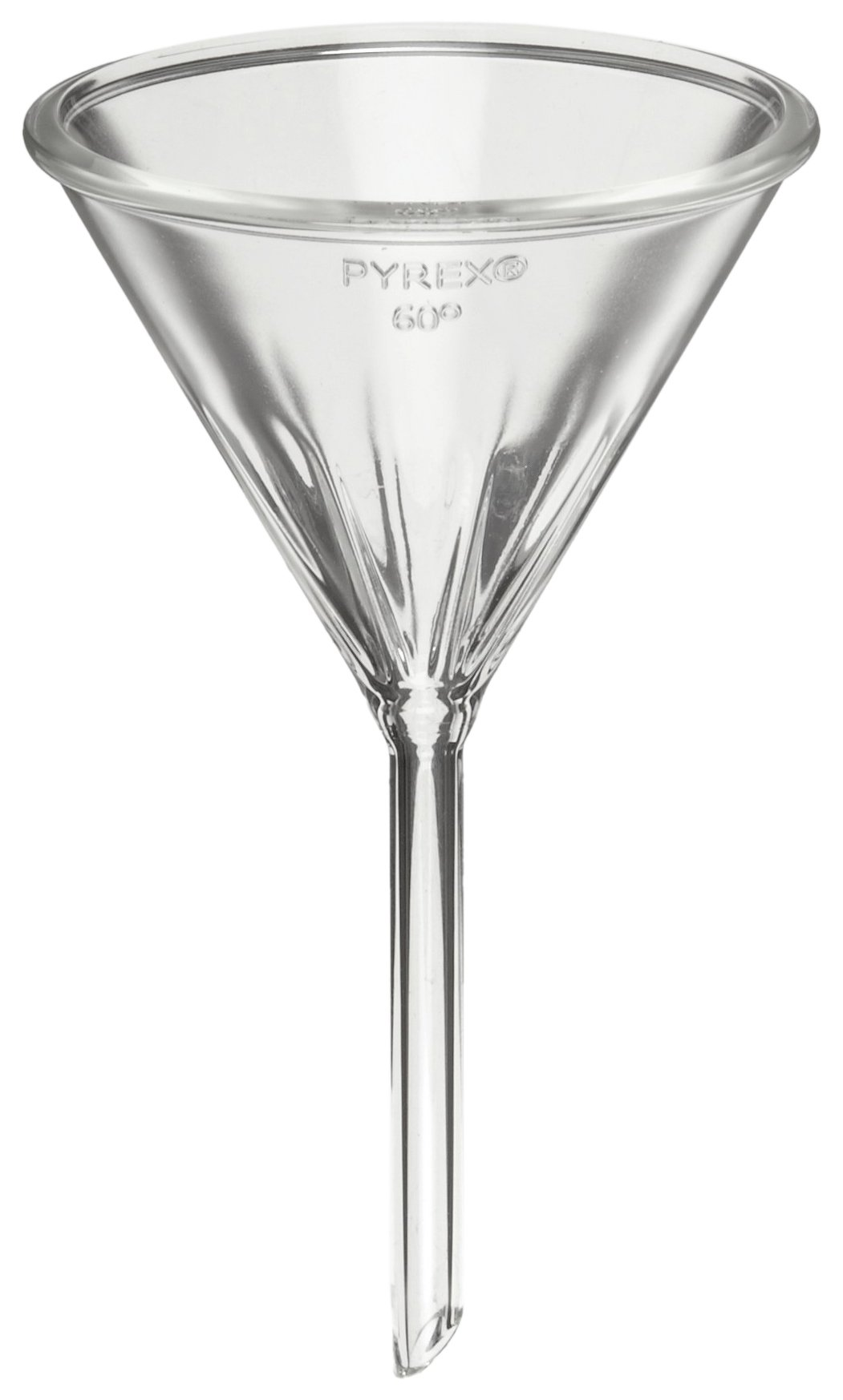 Corning Pyrex 6180-100 Borosilicate Glass Fluted Funnel, with Short Stem, 100mm Diameter (Pack of 6) by Corning