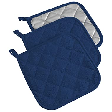 DII, Cotton Terry Pot Holders, Heat Resistant and Machine Washable, Set of 3, Nautical Blue