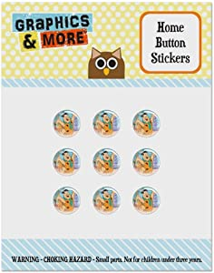 The Flintstones Fred Character Set of 9 Puffy Bubble Home Button Stickers Fit Apple iPod Touch, iPad Air Mini, iPhone 5/5c/5s 6/6s 7/7s Plus
