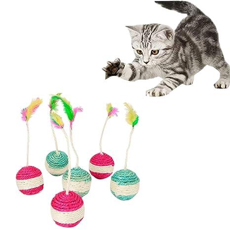 Crewell - Pelota de Juguete para Gato y Gato con sisal para rascar, Divertida Pluma