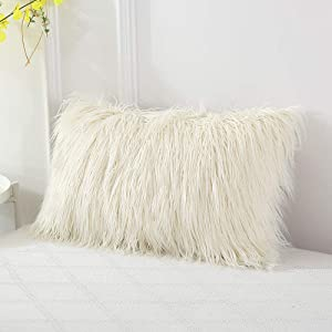Ojia Deluxe Home Decorative Super Soft Plush Mongolian Faux Fur Throw Pillow Cover Cushion Case (12 x 20 Inch, Cream White)