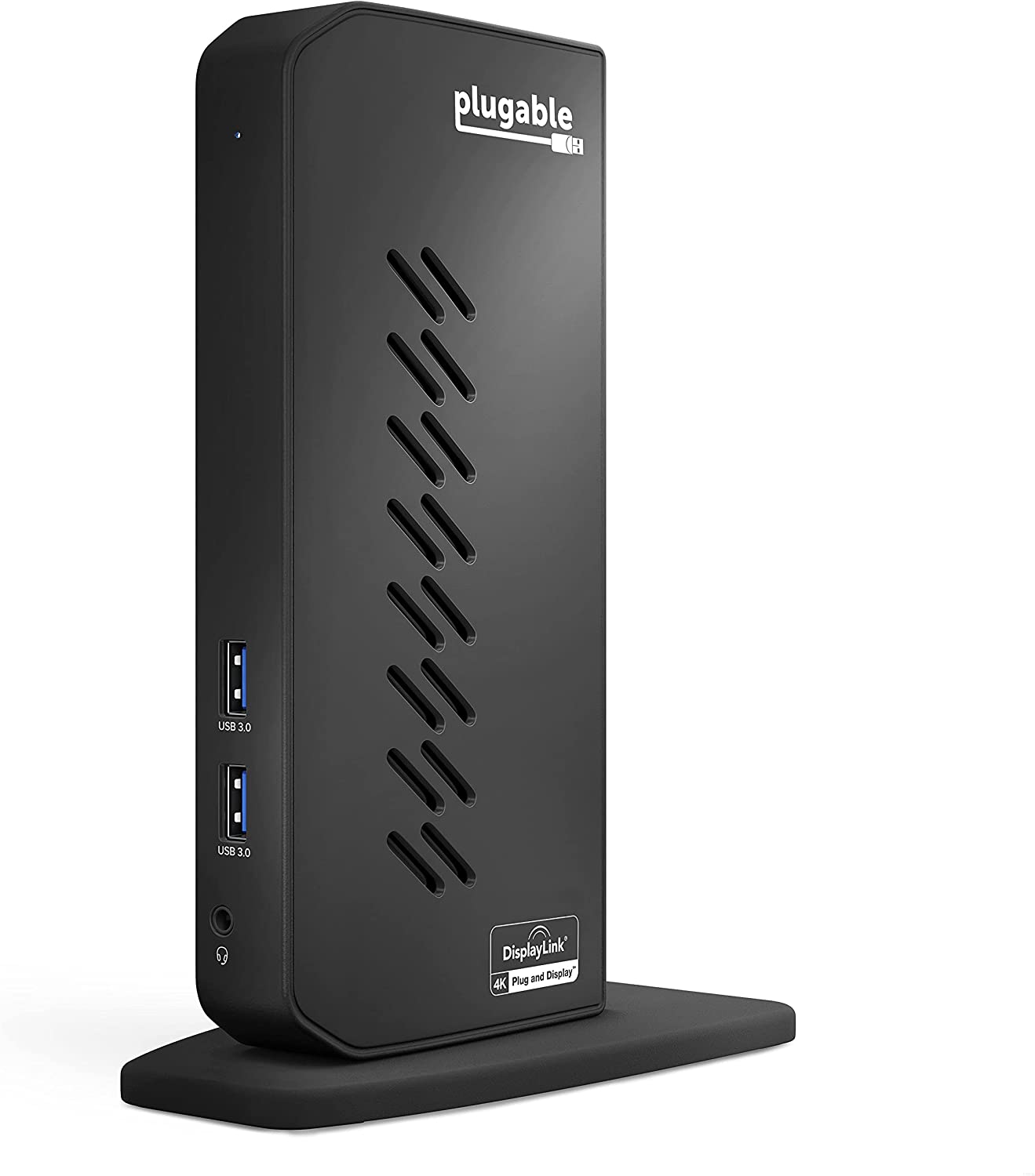 Plugable USB 3.0 and USB-C Dual 4K Display Docking Station with DisplayPort and HDMI for Windows and Mac (Dual 4K DisplayPort & HDMI, Gigabit Ethernet, Audio, 6 USB Ports) Vertical