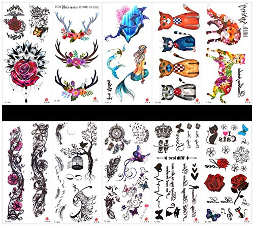 (PAMO 10pcs tattoo rose Fake and real temp tattoo stickers that look real in a packages,including)