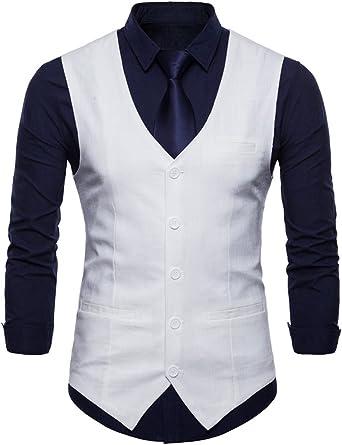 Invachi Slim Fit - Chaleco de traje para hombre, elegante, de ...