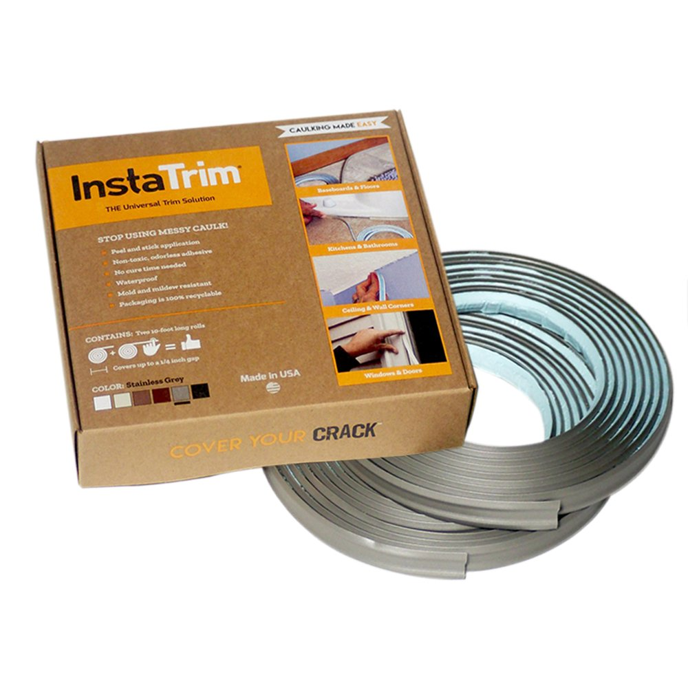 InstaTrim - Universal, Flexible, Adhesive Trim Solution - Cover Gaps Between Walls, Floors, Ceilings, and More (Stainless Grey)