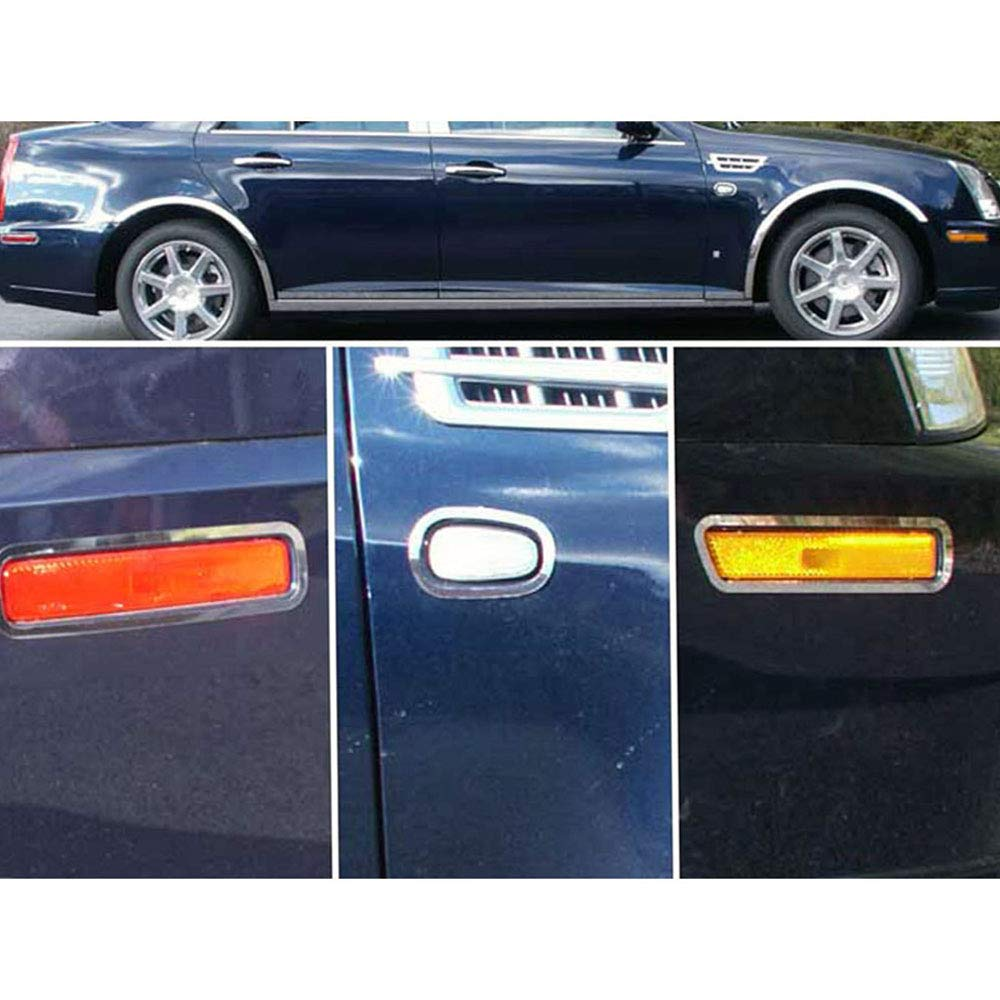 Elite Auto Chrome Stainless Marker Light Surround Trim fits 05-08 Cadillac STS
