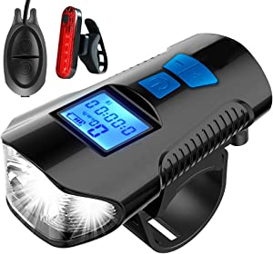 oceansEdge11 LED Bicycle Lights USB Front and Rear Rechargeable Bicycle Headlight Tail Lights, Bicycle Speedometer, Odometer Waterproof Front Lights, Suitable for All Mountain and Road Bikes