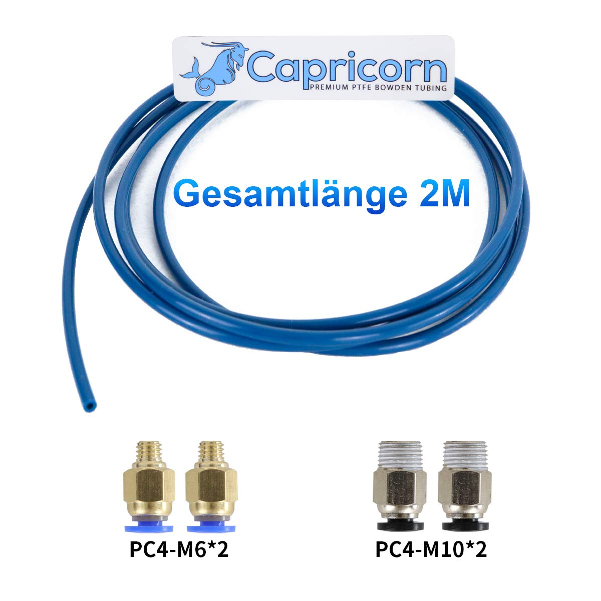Authentic Capricorn PTFE 2 Metre Bowden Cable Hose XS Series for 1.75mm Filament with Improved Pneumatic Connections PC4-M6 and PC4-M10 2