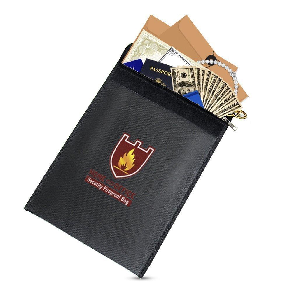 Ignifugo documento bag, Highwinner Water Resistant bag per passaporto e gli oggetti di valore, nero