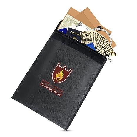 Bolsa de documentos ignífuga, bolsa de seguridad impermeable para pasaporte y objetos de valor, negro