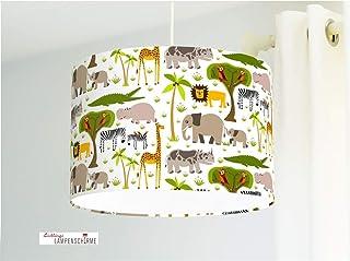Lampe für Babyzimmer Kinderzimmer mit Safari Tieren Löwen Elefanten Zebras