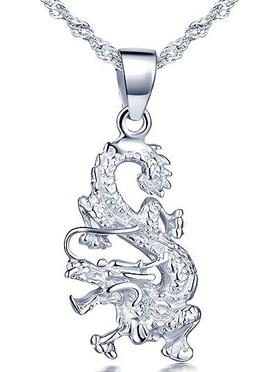 79c48a486722 Infinito - Collares Mujer de Plata 925 Colgante Dragón Chino Collar con 45  cm Cadena  Amazon.es  Joyería