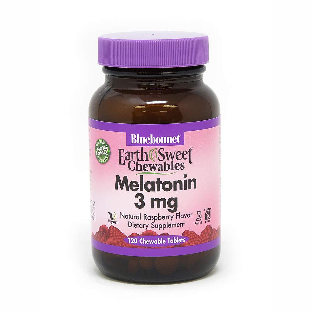 Bluebonnet Nutrition Earthsweet Chewables Melatonin 3 Mg, Raspberry, 120 Count