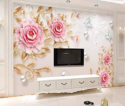wall murals 3d wallpaper modern simple of embossed peony 3d wall