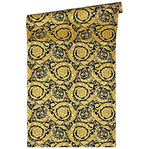/Mat/ériau: vinyle sur Mat/ériau non tiss/é or/ /couleur: NOIR,/ /Article N /° 1504 Versace Papier peint/ 4544