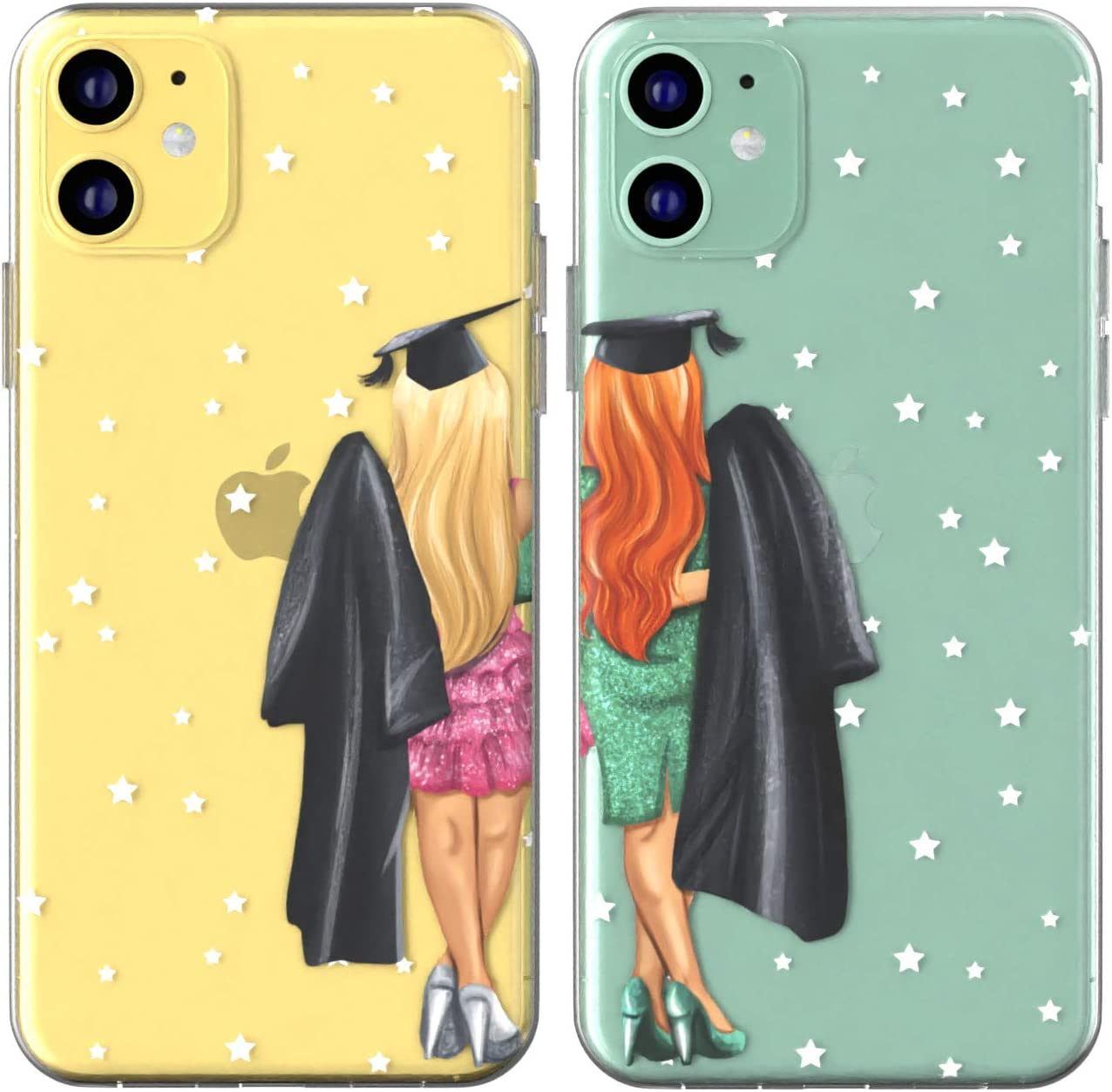 Toik Matching Couple Cases for Apple iPhone 11 Pro Xs Max Xr 10 X 8 Plus 7 6s 5s SE Girlfriend Gift High School Silicone BFFs Mantle TPU Cover University Clear Anniversary Graduation Cap Design Girls
